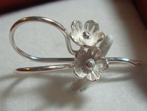 6% off, BULK 20 pcs, 22x12 mm, Bali Artisan, Sterling Silver Lotus Blossom / Floral Earwires