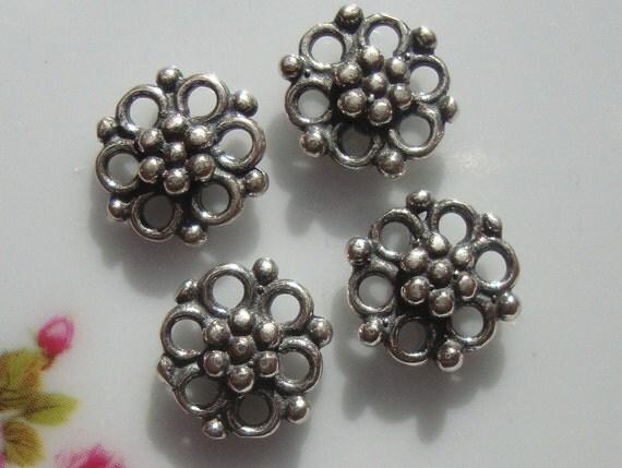 Save, Bulk 12 pcs, 8x8mm, Bali Artisans, Sterling Silver, Oxidized Beautiful Flower Connectors, Link (double side)