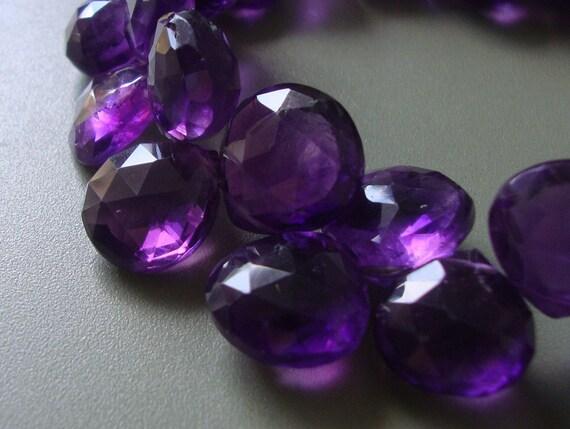 6 pcs, 8-10mm, AAA African Royal Purple Amethyst Faceted Heart Briolette, pendants, earrings - JN14-6
