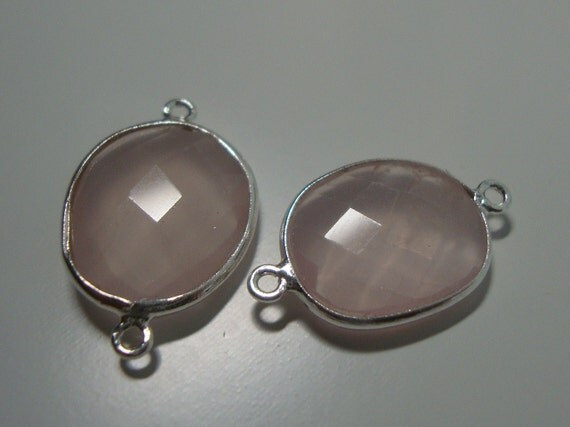 30% Off, 1 Pc, 21x13mm, Powder Pink Cloudy Rose Quartz Sterling Silver Bezel Rim Connector
