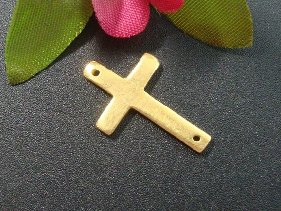 2 pcs, 19x12mm, 24K Gold Vermeil over 925 Sterling Silver, Sideway Cross, shinny, polished