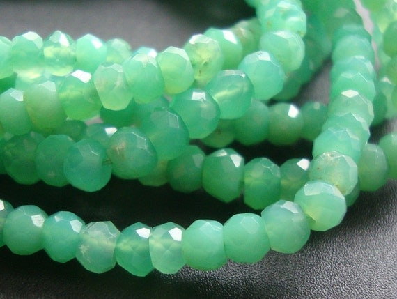1/2 Strand, 2.8-3mm, Amazing color, Natural Chrysoprase Micro Faceted Rondelle