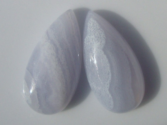 Reduced from 11.90 - 2 pcs, 20x10x4.5mm, Gorgeous Blue Lace Chalcedony Polished Teardrop Pear Cabochon - M18-1