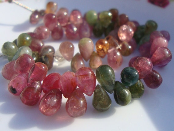 Reduced from 65, 1/2 Strand, 7-8mm, Very Pretty Watermelon Tourmaline Smooth Teardrop Briolettes - M19-1