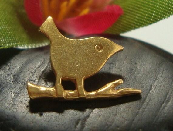Save, Bulk 4 pcs, 13x10.5mm, Handmade Findings, 24K Vermeil Sterling Silver Bird on Twig Pendant, Charm, Connector, Earring Findings