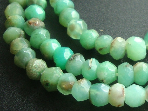 "REserved - Organic Chrysoprase Gemstone Faceted Rondelle Beads, 4.5-5mm, 8"" Strand"