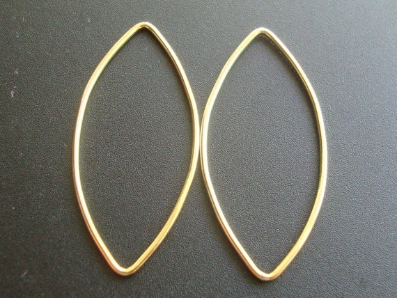 14K Gold Filled Marquise connector Link findings, 2 pcs 36x16mm 18 Gauge wire