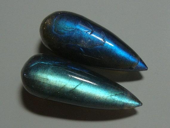 One pair, 21x8mm, Fiery Blue Flash Labradorite Smooth TearDrop Briolette - JN23-1