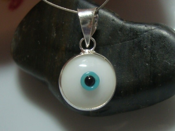 Turkey Handmade Evil Eye Charm with 925 Sterling Silver Bail and Rim 17.5x10mm, 2 pc