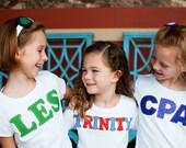 School Spirit Shirt, Back To School Applique Shirt, Show your school pride, School letters or name