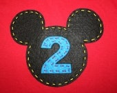 Mickey Mouse Clubhouse Birthday Party Shirt, Initial or Number, OR Disney Vacation Shirt, Mickey or Minnie Mouse, felt or fabric