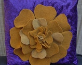 "Crushed Velvet Cushion Cover with Felt Flower 16"" by 16"""