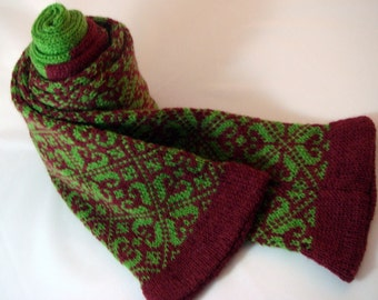 WOOL KNITTED SCARF WITH FAIRISLE PATTERN