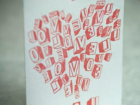 SALE -Letterpress Valentine Card - Love Letters - 60% off