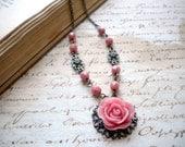 Pink Rose Flower Necklace - Vintage Necklace
