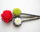 Bobby Pin Flowers Red Green White Hair Accessories Flower Cabochon Bobby Pin