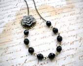 Grey and Black Flower Necklace - Vintage Necklace