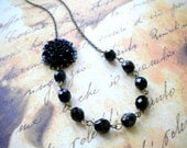 Flower Necklace Black Necklace One Strand Beaded Necklace Beadwork Black Glass Necklace