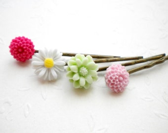 Flower Bobby Pin Floral Hair Accessories Bobby Pin Flowers Set Girl Flower Bobby Pin Flower Hair Accessories Set Of Four