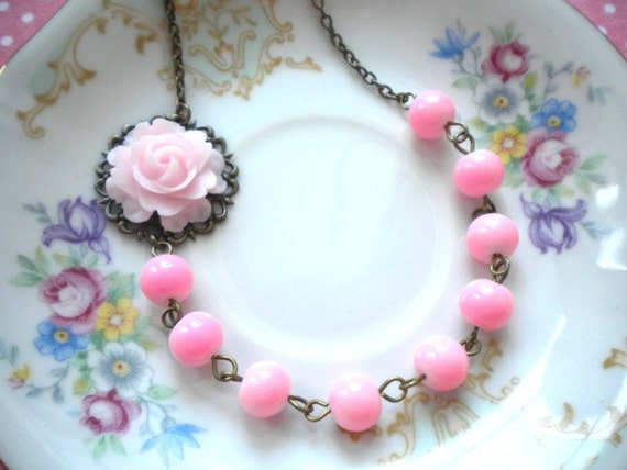 Flower Necklace Pink Necklace Bridesmaid Necklace Flower Jewelry Rose Necklace