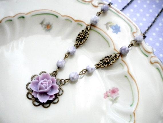Purple Necklace Flower Necklace Bridesmaid Necklace Wedding Necklace Pendant Necklace
