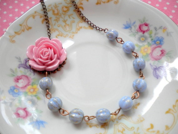 Pink Flower Necklace Bridesmaid Necklace One Strand Pastel Choker Necklace