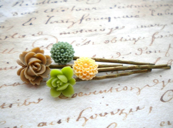 Bobby Pin Flowers - Green Flower Cabochon Bobby Pin - Flower Bobby Pin