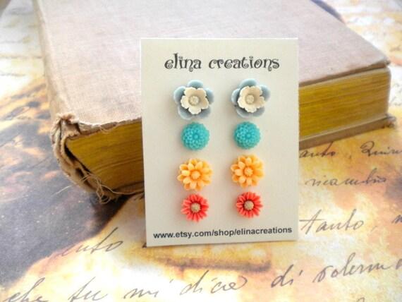 Post Earrings - Flower Earrings - Flower Cabochon stud Earrings - Colorful Earrings