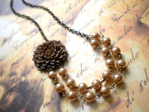 Two Strand Statement Necklace Bib Flower Necklace Brown Necklace Statement Jewelry
