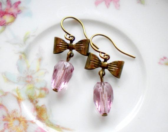 Drop Earrings Bridesmaid Earrings Bridal Earrings Dangle Purple Earrings Bow Earrings