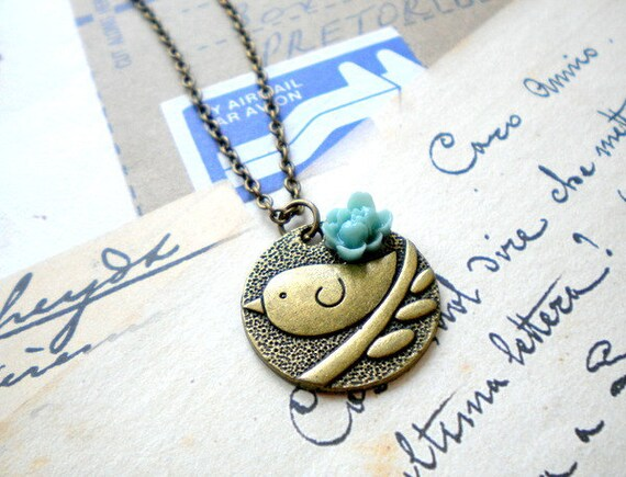 Bird Pendant Flower Necklace Bird Necklace Bird Charm Sparrow Necklace Pendant Necklace