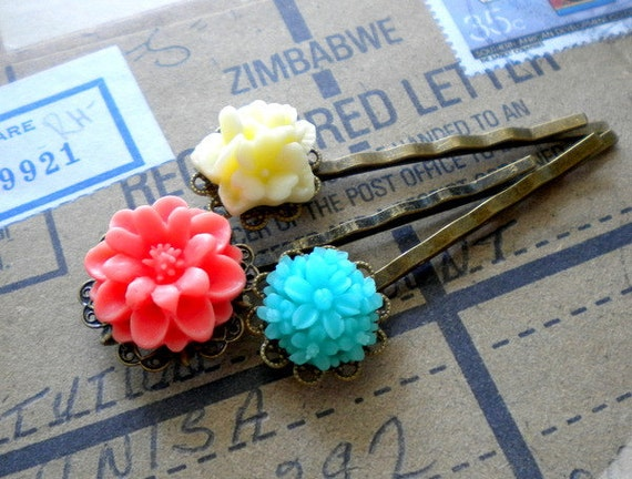 Flower Bobby Pin Hair Accessories Bobby Pin Flowers Vintage Bobby Pin Colorful Bobby Pin