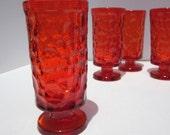 RESERVED   Orange Fostoria Pebble Beach Glasses - set of 6