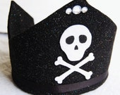 on hold for Huggermugger-yo ho yo ho black felt pirate crown with adjustable ribbon tie perfect for birthdays and pretend play.  in stock and ready to ship.