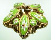 Vintage Bracelet  Painted Porcelain Daisy Chunky Goldtone Jewelry