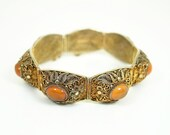 RESERVED for Judy... Vintage Bracelet Chinese Export Vermeil Filigree Amber Glass Cabochon Jewelry