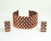 Vintage Renoir Bracelet Earrings Basket Weave Copper Jewelry