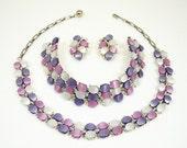Vintage Lavender Purple Thermoset Necklace Bracelet Earrings