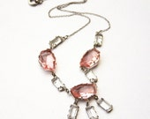 Art Deco Necklace Pink Clear Glass Bib Antique Jewelry