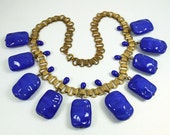 Art Deco Necklace Egyptian Revival Cobalt Blue Glass Book Chain Antique Jewelry
