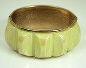 Vintage Bracelet Yellow Lucite Goldtone Hand Hammered Clamper Bangle Jewelry