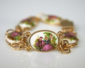 Vintage Italian Export Porcelain Cameo Bracelet Earrings Set