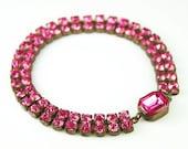 Art Deco Bracelet Czech Pink Rhinestone Antique Jewelry