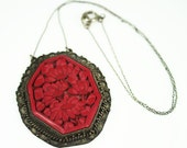 RESERVED for TaurusGemelli...  Antique Chinese Export Carved Cinnabar Pendant Necklace
