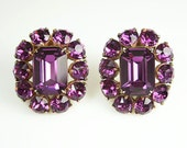 Vintage Hollycraft Earrings Amethyst Purple Rhinestone Jewelry