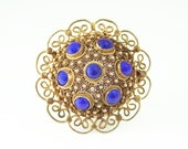 Vintage Chinese Brooch Blue Lapis Vermeil Silver Filigree Antique Jewelry