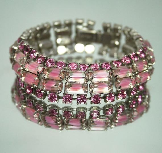 Vintage KRAMER Four Row Pink Rhinestone Givre Baguette Bracelet