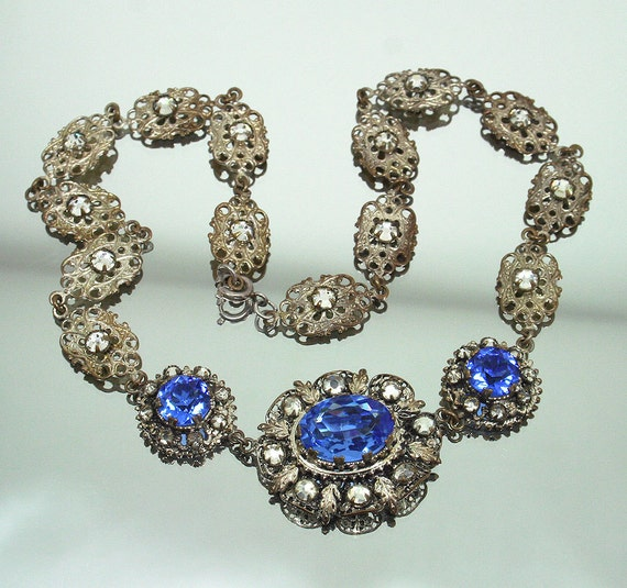 Art Deco CZECH Silver Filigree Sapphire Glass Bib Style Necklace - RESERVED for RaeML