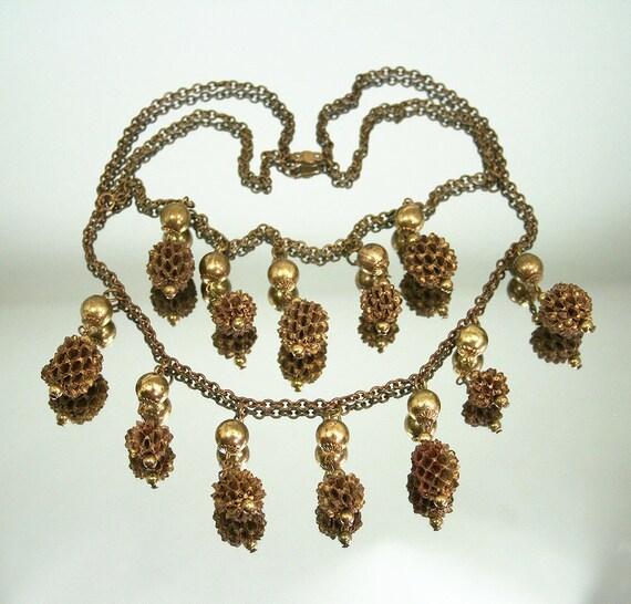Vintage Necklace Pine Cone Bib Festoon Gold Bead Brass Antique Jewelry