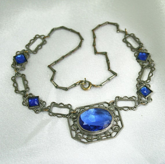 Art Deco Necklace Czech Silvertone Filigree Sapphire Glass Cabochon Jewelry